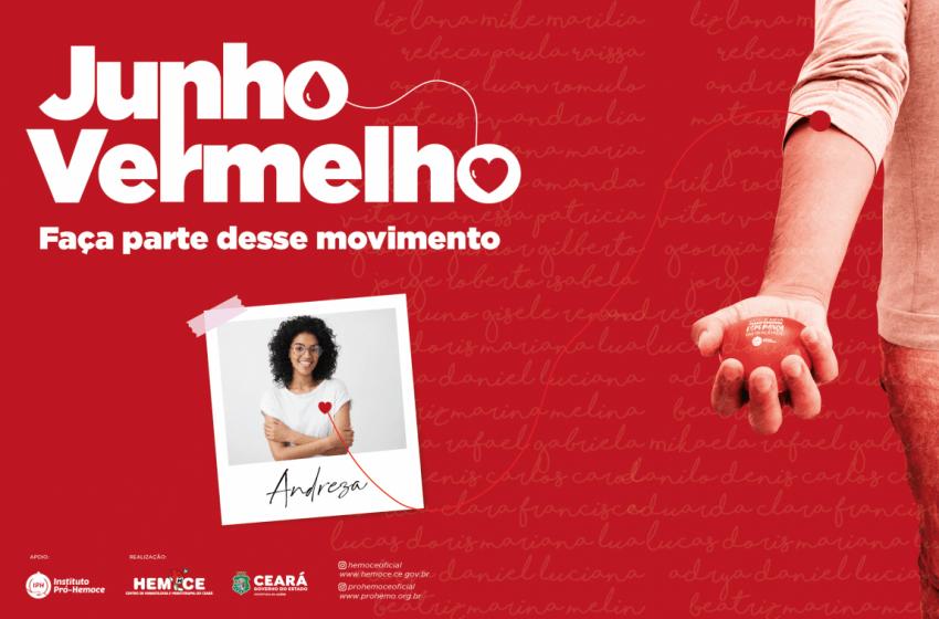 Junho Vermelho: Hemoce lança nova campanha de incentivo à doação de sangue